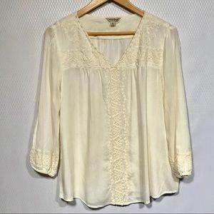lucky brand off white embroidered 3/4 Sleeve Top